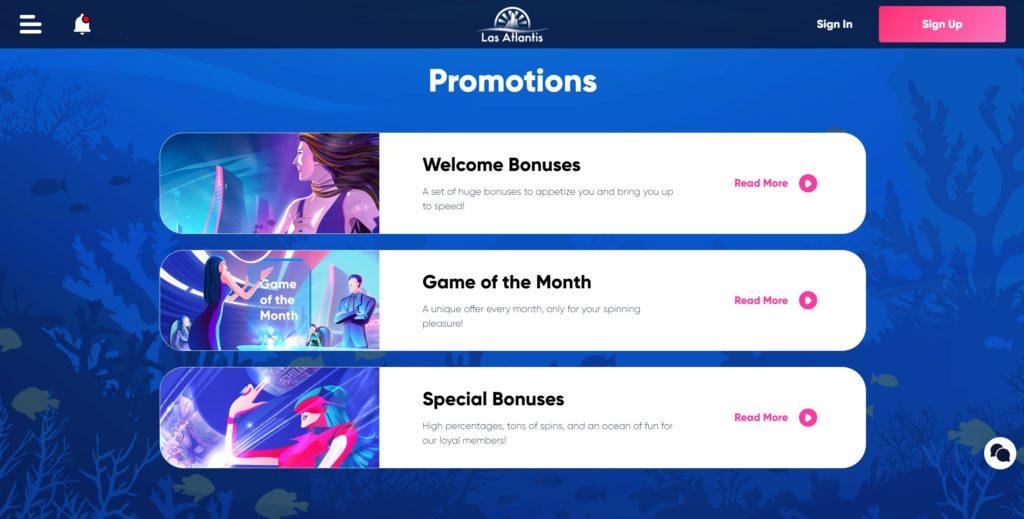 Las Atlantis online casino promotions