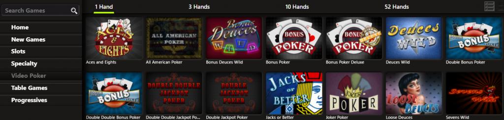 Video poker selection at Diamond Reels