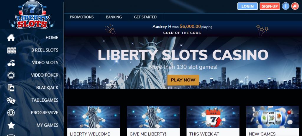 Liberty Slots landing page