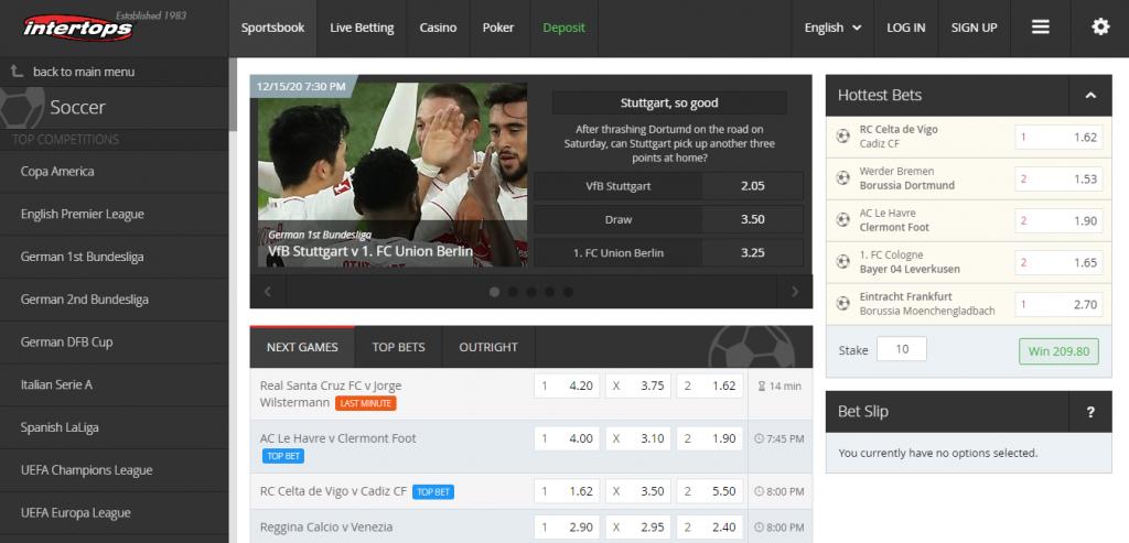 Soccer betting options at Intertops