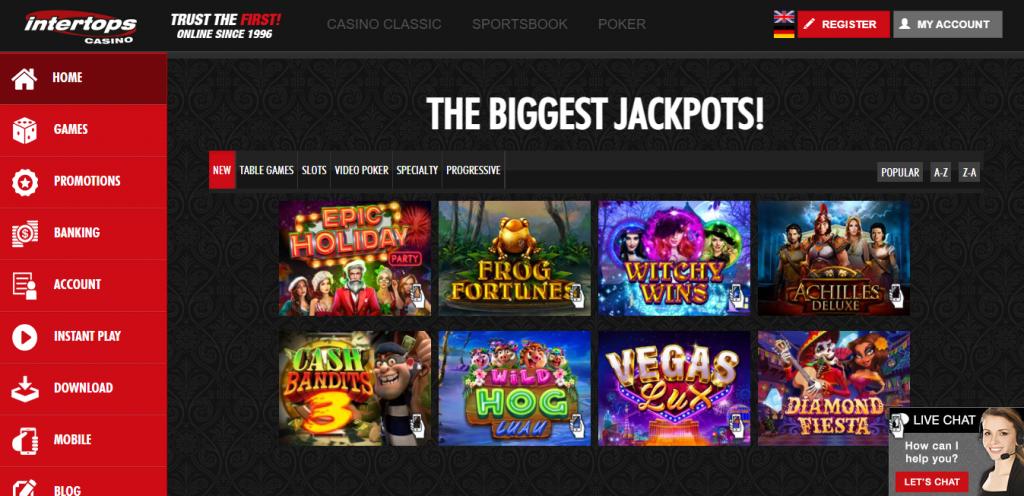 Intertops Casino landing page