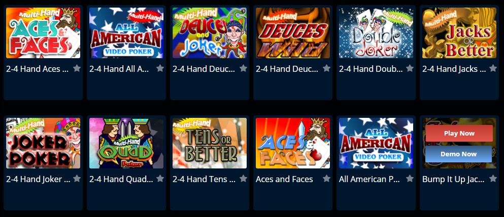 Liberty Slots video poker games